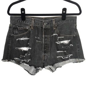 LEVI'S 501 Heavily Distressed Cut-Off Denim Shorts